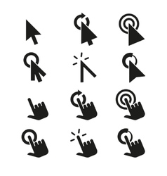Click icons and hand cursor signs set vector image vector image