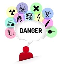 Danger sign thinking man vector