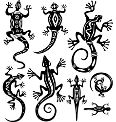 decorative lizards vector image vector image