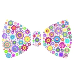 floral bow tie on white background vector image vector image