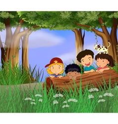 Four childrens playing in the forest vector image vector image