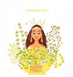 Girl herbs vector