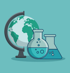 Globe and flasks design vector
