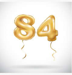 Golden number 84 eighty four metallic balloon vector
