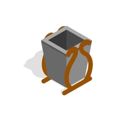 Gray litter bin icon isometric 3d style vector