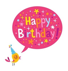 Happy birthday card with cute bird vector
