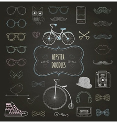Hipster retro vintage doodle icon set vector