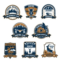Hunting club icons outdoor adventure emblems vector