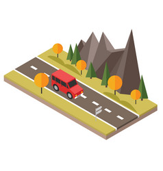 Isometric countryside fall road car goes through vector