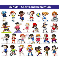 Kids engaging in different activities vector image vector image