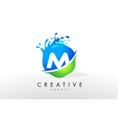 M letter logo blue green splash design vector