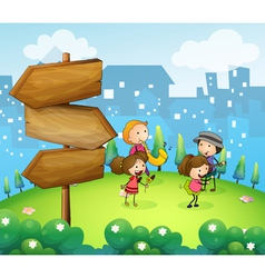 Musicians performing near the wooden arrowboards vector image vector image