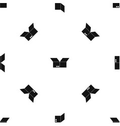 opened cardboard box pattern seamless black vector image vector image