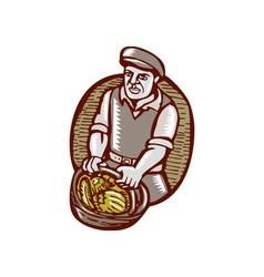 Organic Farmer Harvest Basket Woodcut Linocut vector image