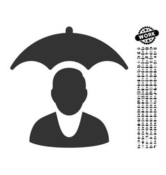 Patient safety umbrella icon with people bonus vector