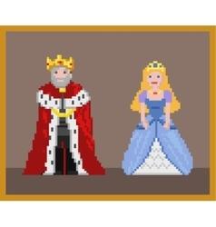 Pixel king and princess vector image