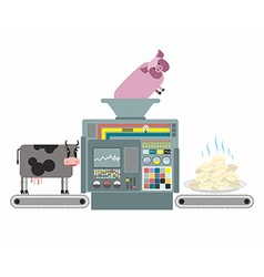 Production of pork and beef dumplings russian vector