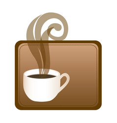 rectangular frame with hot cup of coffee vector image vector image