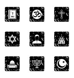 Religion icons set grunge style vector
