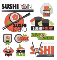 Set with sushi banners icons vector