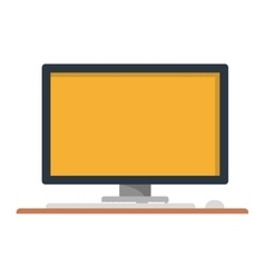 Silhouette with desktop computer on table vector