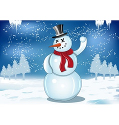 Smiling snowman with red scarf and snowball vector