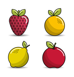 Strawberry orange lemon and apple icon vector
