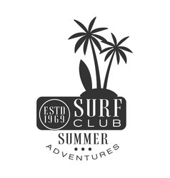 Summer adventure surf club estd 1969 logo template vector