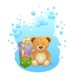 Teddy bear with gift boxes vector image