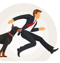 Trained doberman catches man in suit by jacket vector