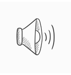 Speaker volume sketch icon vector