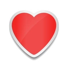 Red heart icon heart sticker on white background vector