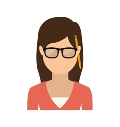 Half body woman with glasses and jacket vector