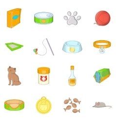 Cats accessories icons set cartoon style vector