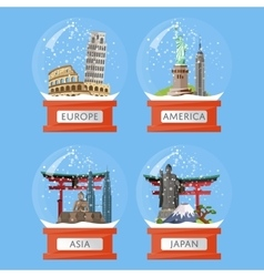 Snow globes with famous attractions vector