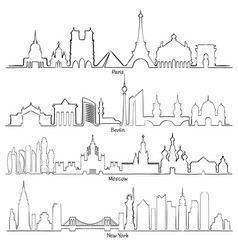 Set of cities silhouette paris berlin moscow vector