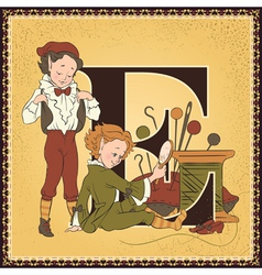 Letter e the elves and the shoemaker vector