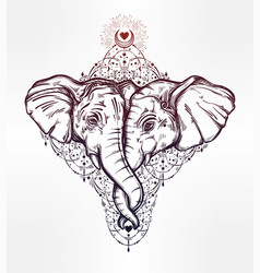 Elephant huggung or kissing another with trunk vector