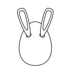 Easter bunny ears in egg thin line vector