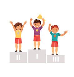 Children on the podium vector