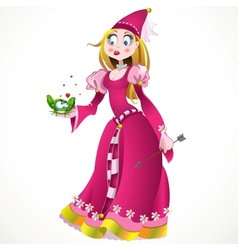 Charming princess holding a frog vector