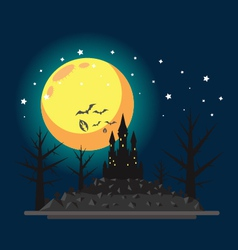 Flat design halloween castle vector