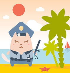 Character police in officers cap and in the form vector