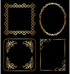 gold floral decorative frames vector image
