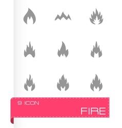 Black fire type icon set vector