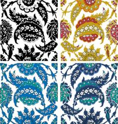 Paisley floral elements vector