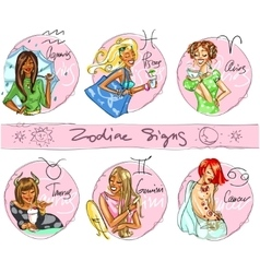 Zodiac signs hand drawn icons - part 1 vector