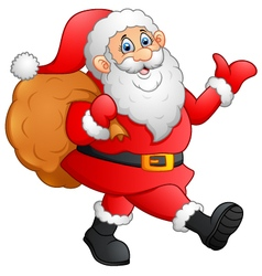 Santa waving and holding sack vector