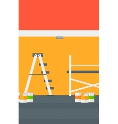 Background of wall with paint cans and ladder vector