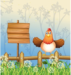 A hen in the forest vector